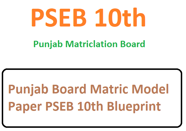 Punjab Board Matric Model Paper 2021 PSEB 10th Blueprint 2021